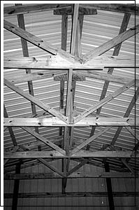 Black and white garage frame