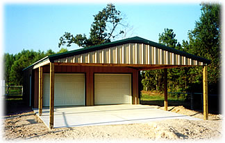 Two door garage with carport