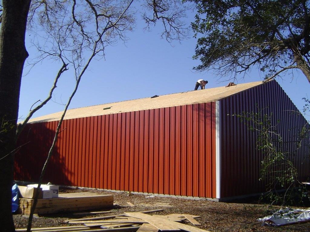 Steel Buildings Houston TX red side